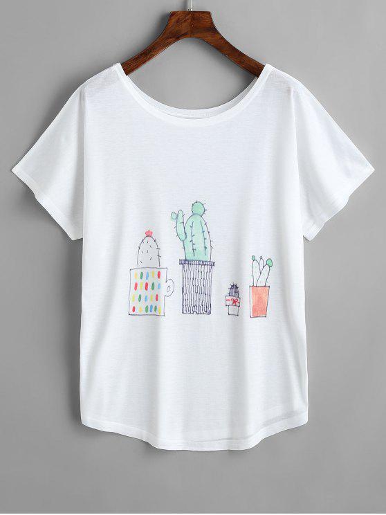 Camiseta de manga corta con estampado de cactus - Blanco Única Talla