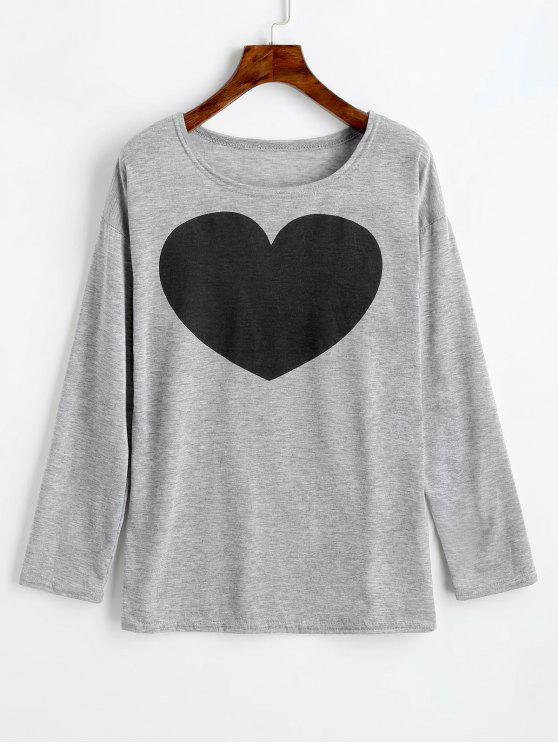 outfit Heart Print Long Sleeve Tee - GRAY XL