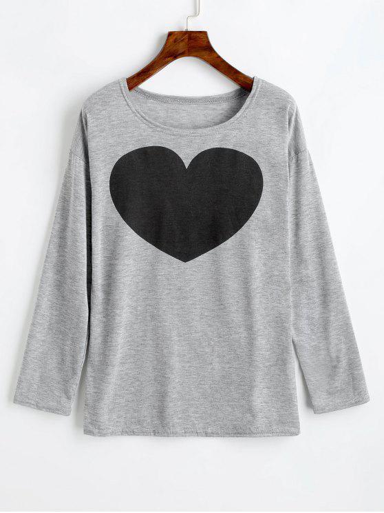 بلوزة بأكمام طويلة مزينة بطبعة قلب - اللون الرمادي M