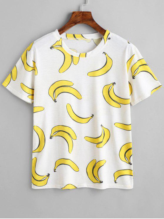 T-shirt A Collo Rotondo Con Stampa Di Banana - Bianca Taglia unica