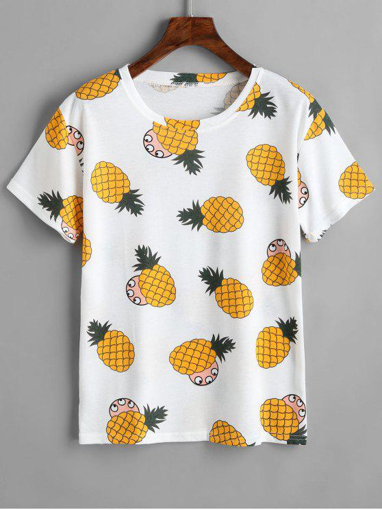 trendy Round Collar Pineapple Print Tee - WHITE ONE SIZE