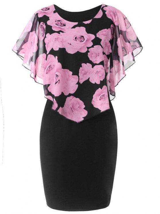 فستان الحجم الكبير طباعة الوردة - زهري 5XL