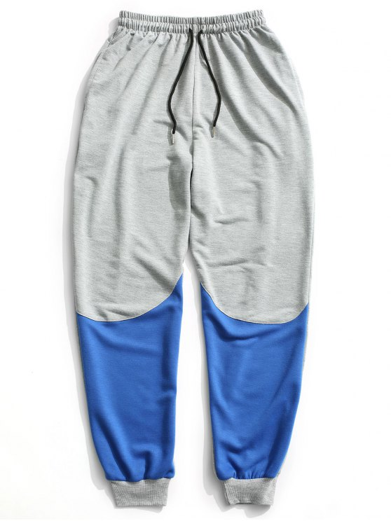 Color Block Drawstring Sweatpants - Cinza XL