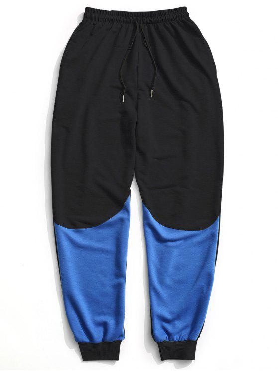 Color Block Drawstring Sweatpants - Preto L