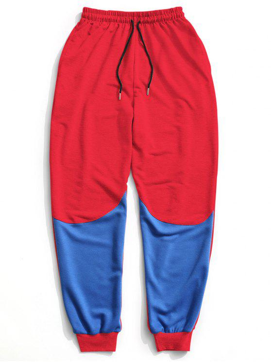 Color Block Drawstring Sweatpants - Vermelho XL