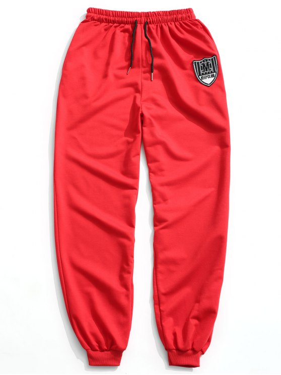 Patch Drawstring Jogger Pants - Rojo 2XL