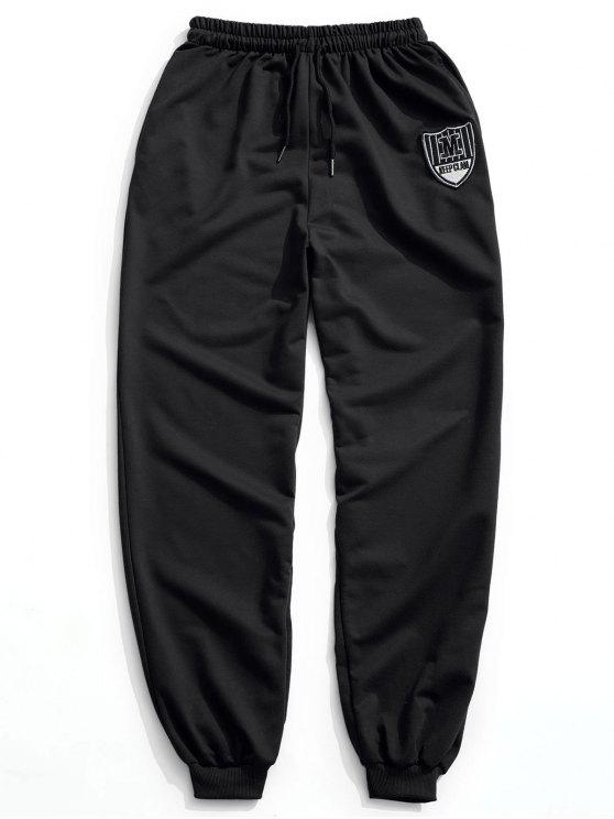 trendy Patch Drawstring Jogger Pants - BLACK L