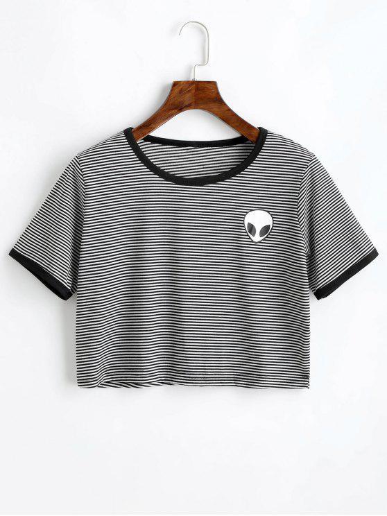 619cf9e7 Camiseta con estampado de rayas estampado extraterrestre - Negro Blanco S