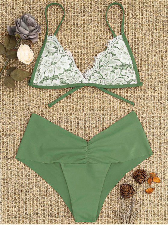 outfits Lace Overlay Scrunch Butt Bikini Set - PEA GREEN M