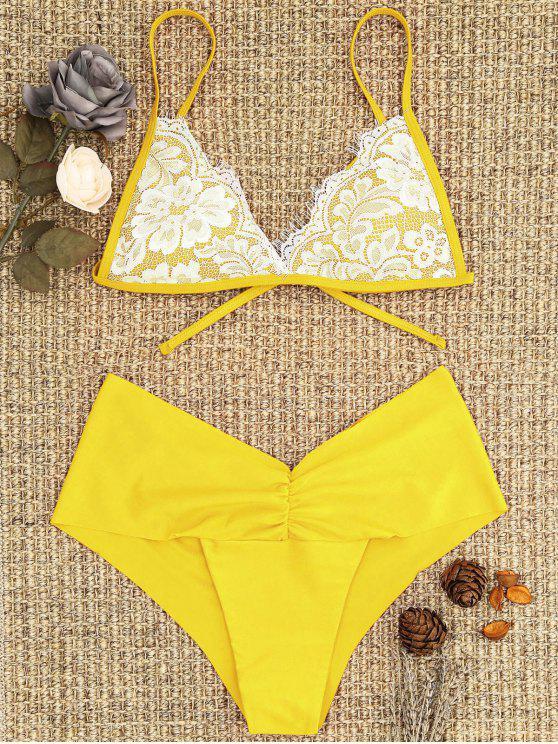 online Lace Overlay Scrunch Butt Bikini Set - YELLOW L