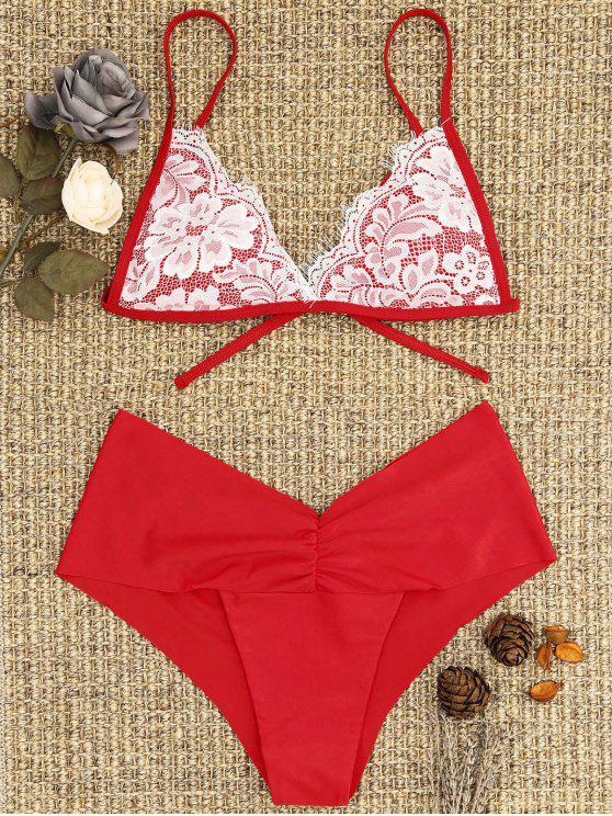 lady Lace Overlay Scrunch Butt Bikini Set - BRIGHT RED M