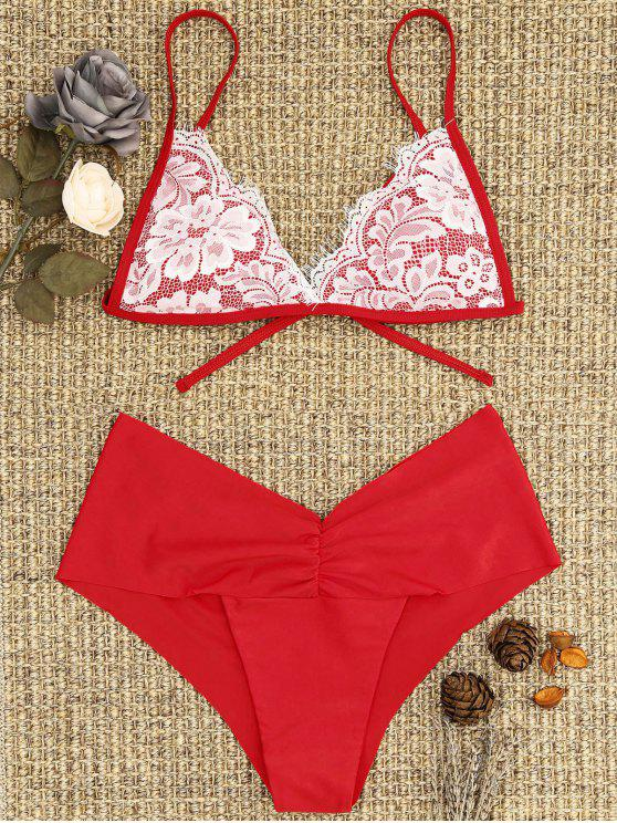 best Lace Overlay Scrunch Butt Bikini Set - BRIGHT RED S