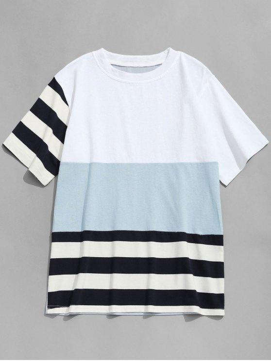 تيشيرت مخطط بألوان جامدة - ازرق رمادي XL