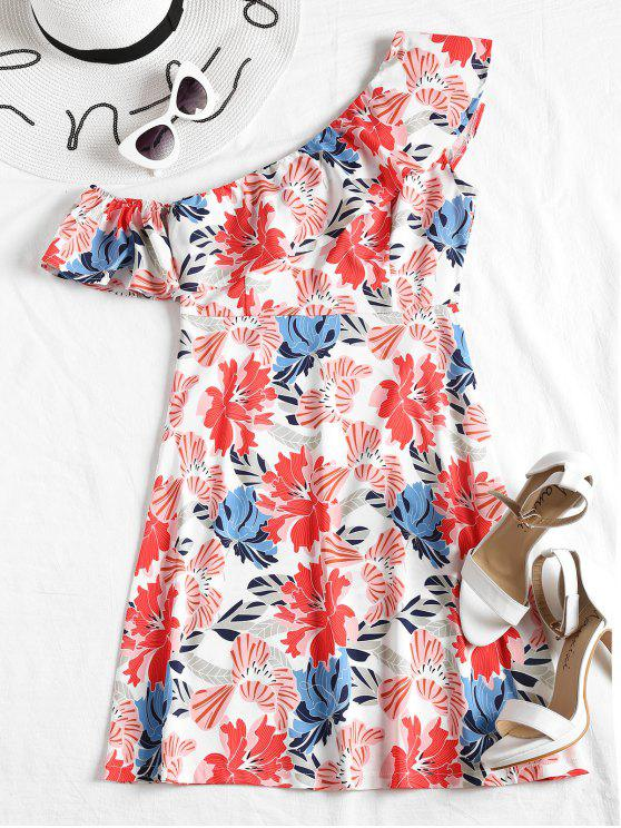 women Skew Collar Flounce Floral Print Dress - FLORAL S