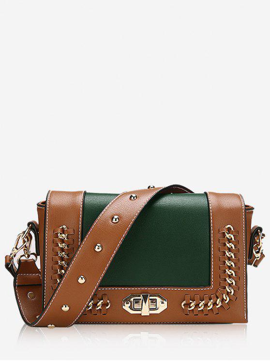 women's Studded Whipstitch Chain Crossbody Bag - GREEN