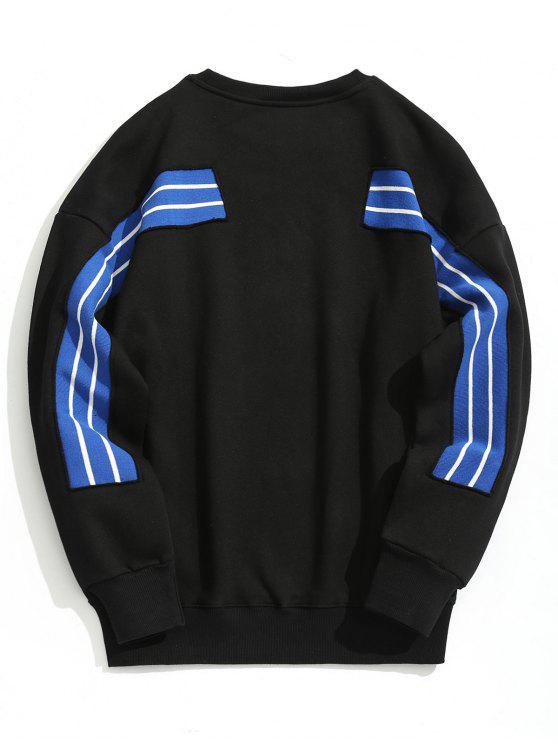 プルオーバーストライプスウェットシャツ - ブラック L