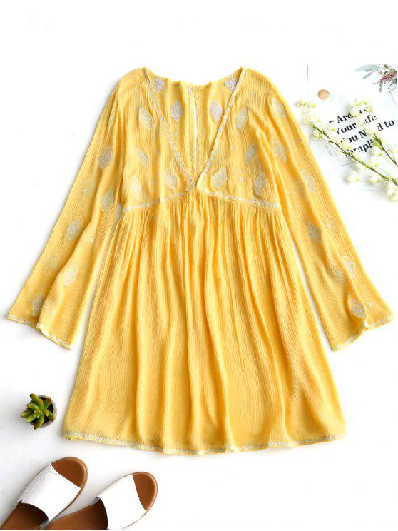 shops Low Cut Crinkly Embroidered Tunic Dress - YELLOW L