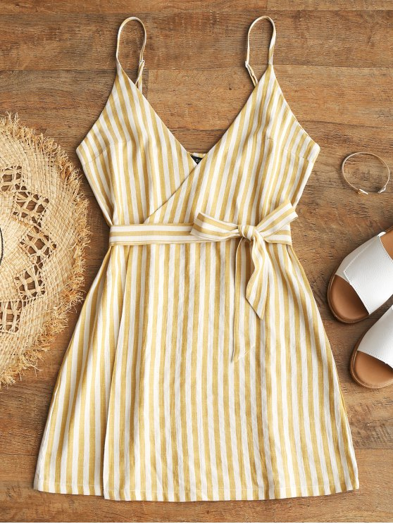 lady Belted Wrap Stripes Mini Dress - YELLOW S
