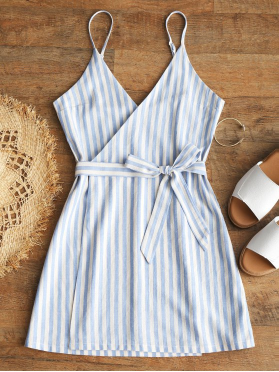 affordable Belted Wrap Stripes Mini Dress - LIGHT BLUE S