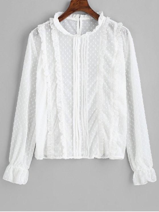 ladies Applique Back Button Frilled Blouse - WHITE L
