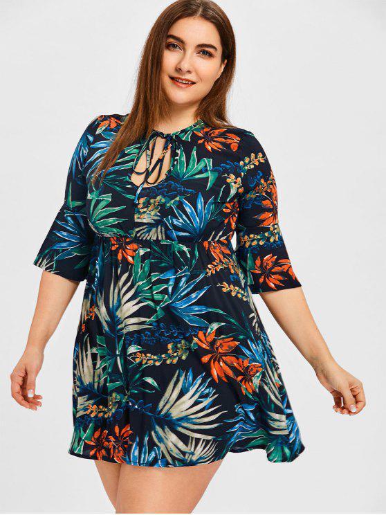 Keyhole Tropical Leaf Print Plus Size Mini Dress FLORAL