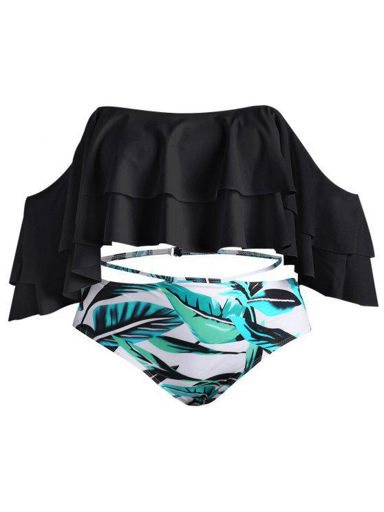 Bikini Plus Size Stampato Foglie Con Spalle Scoperte - Nero 2XL
