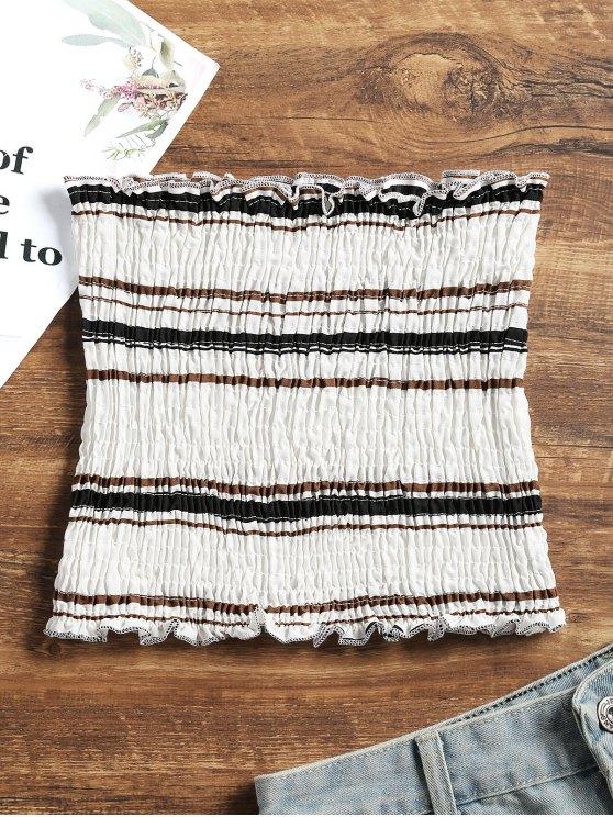 best ZAFUL Smocked Stripes Tube Top - BLACK M