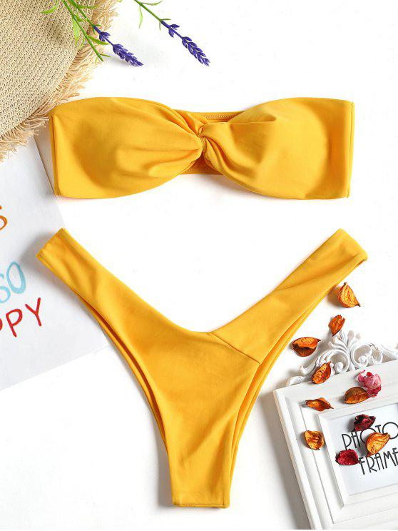 Twist Front Bandeau Thong Bikini - Mostaza M