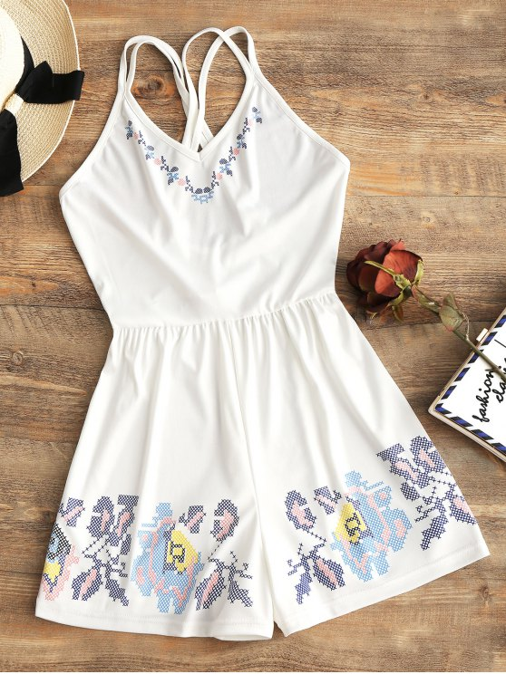 fancy Strappy Geometric Criss Cross Romper - WHITE XL