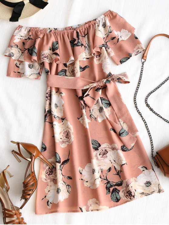 sale Floral Ruffle Off Shoulder Mini Dress - PINK M