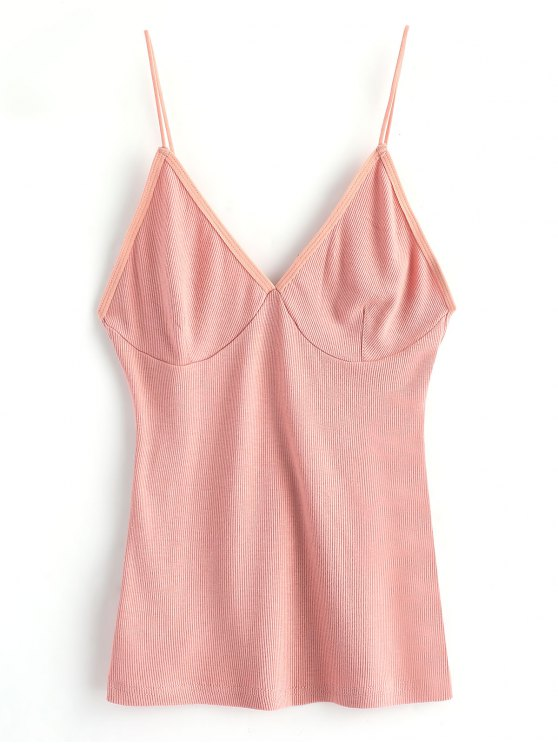 women's Cropped Knitted Spaghetti Straps Tank Top - PINK ONE SIZE