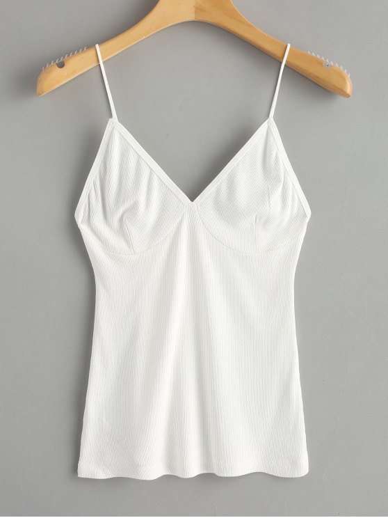 ladies Cropped Knitted Spaghetti Straps Tank Top - WHITE ONE SIZE