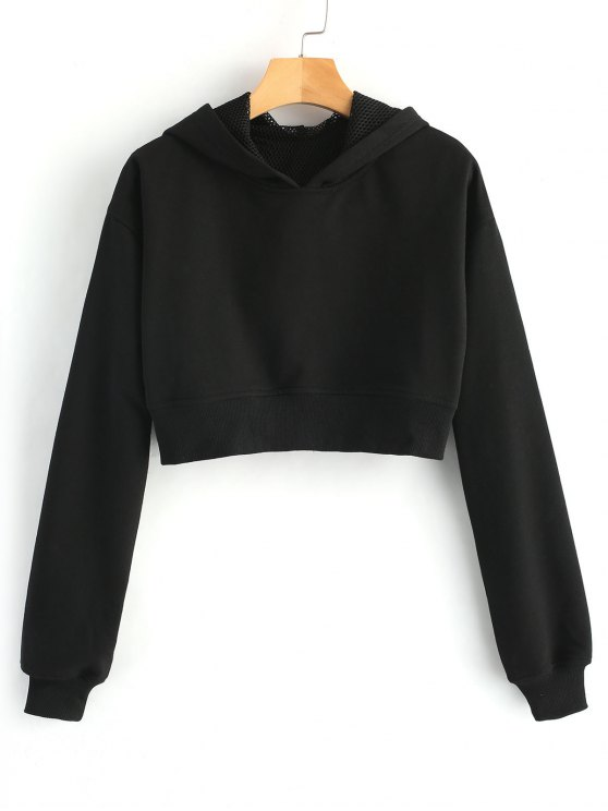 new Cropped Eyelet Figure Patch Hoodie - BLACK S