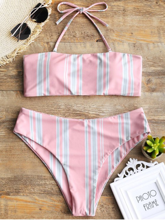 shop Striped Halter Swim Top and High Cut Bottoms - SHALLOW PINK L