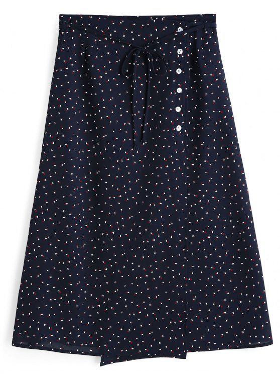 Fancy Polka Dot Side Button A Line Skirt