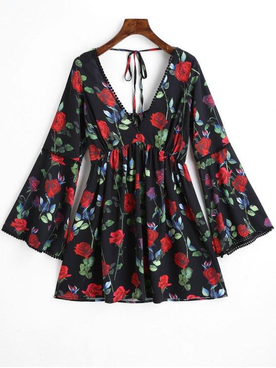 Vestido floral de manga curta com esmalte florido - Preto S