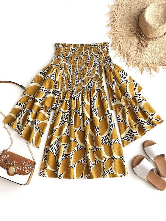 sale Leaves Off Shoulder Shirred Mini Dress - MUSTARD S
