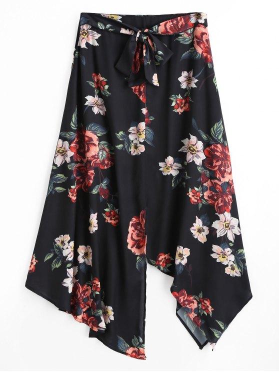 تنورة ماكسية طباعة الأزهار غير متماثلة - أسود L