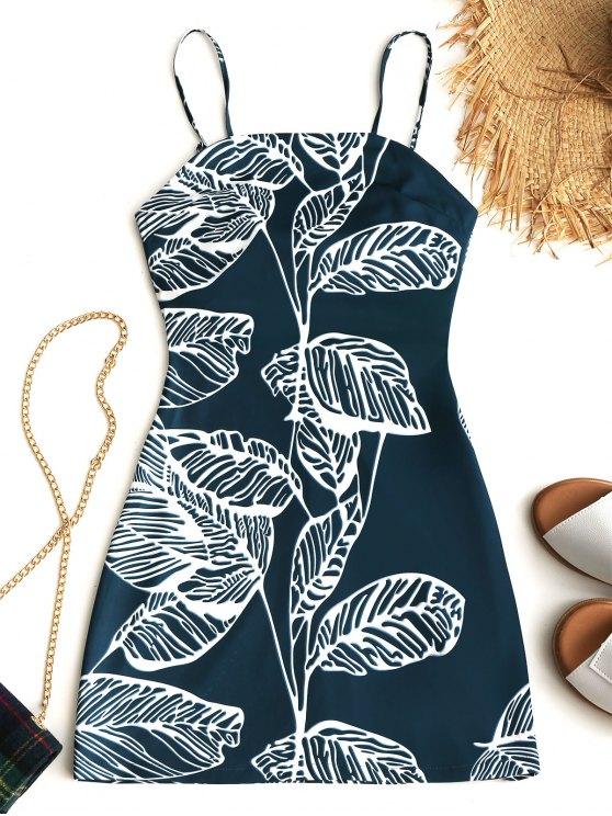 outfit Tied Tropical Cut Out Mini Dress - MALACHITE GREEN XL