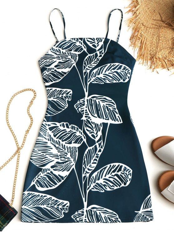 Tied Tropical Cut Out Mini Dress