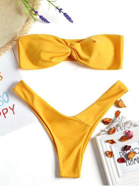 Bikini avec Haut en Bandoulière Torsardé Devant et Slip en V - Moutarde L
