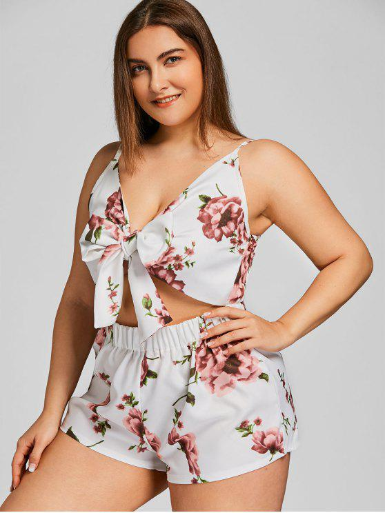 b6ee11aafd3 23% OFF] 2019 Plus Size Bowtie Floral Cut Out Romper In WHITE | ZAFUL