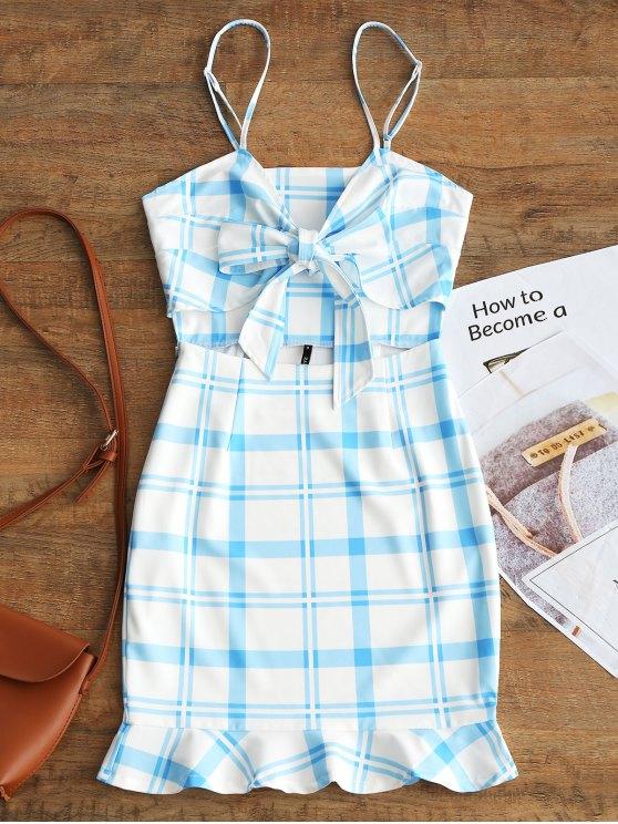 hot Cut Out Bowknot Plaid Mini Dress - LIGHT BLUE M