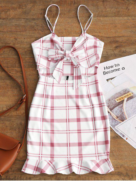 latest Cut Out Bowknot Plaid Mini Dress - PINKISH PURPLE M