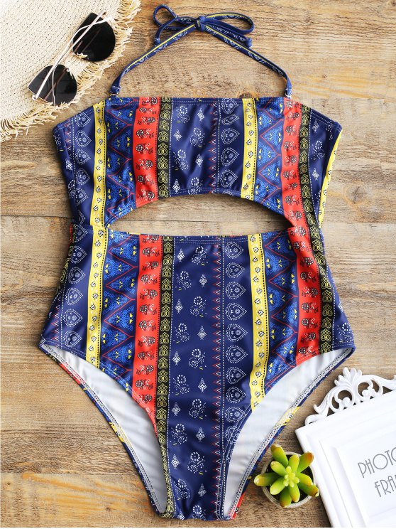women Patchwork Print Cut Out One Piece Swimsuit - MULTICOLOR M