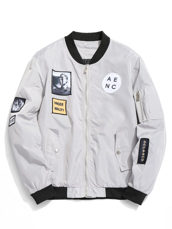 fancy Patched Bomber Jacket - GRAY M