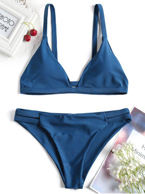 affordable Ladder Cut Cami Ruched Bikini - PEACOCK BLUE L