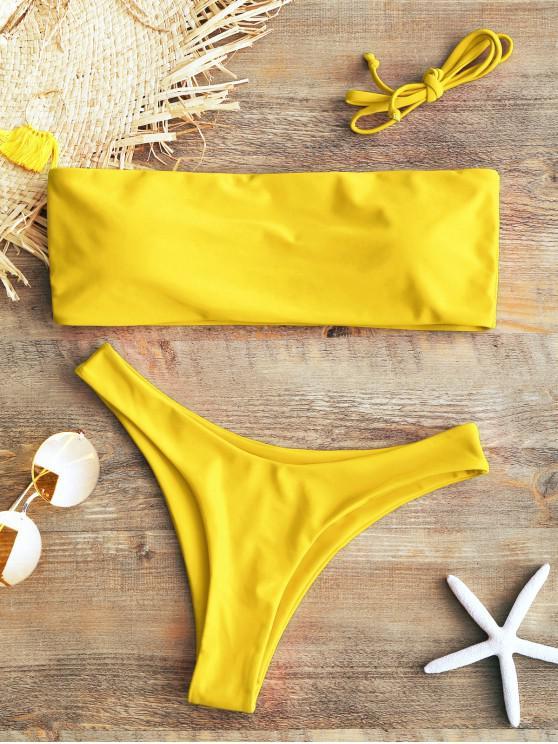 hot Padded Bandeau Bikini Set - YELLOW L