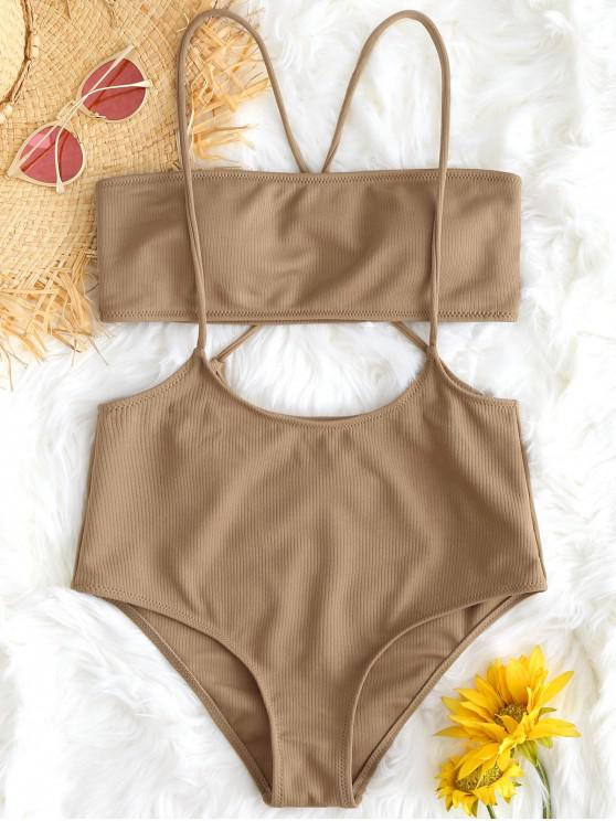fancy Bandeau Top and High Waisted Slip Bikini Bottoms - CAMEL L