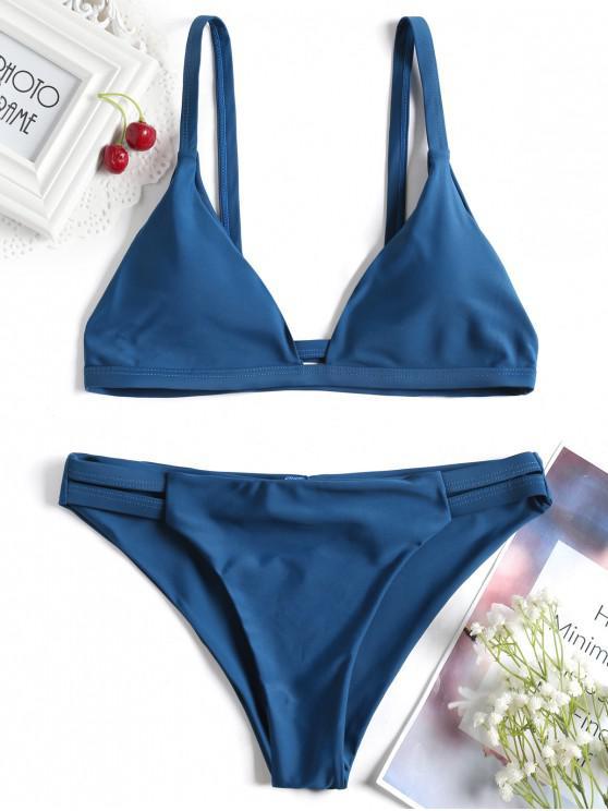 Lader Schlitz Cami Geraffter Bikini - Pfauenblau L